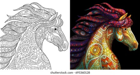 Coloring Book Images  Stock Photos   Vectors   Shutterstock Coloring page of mustang horse  Colorless and color samples for adult  antistress coloring book cover