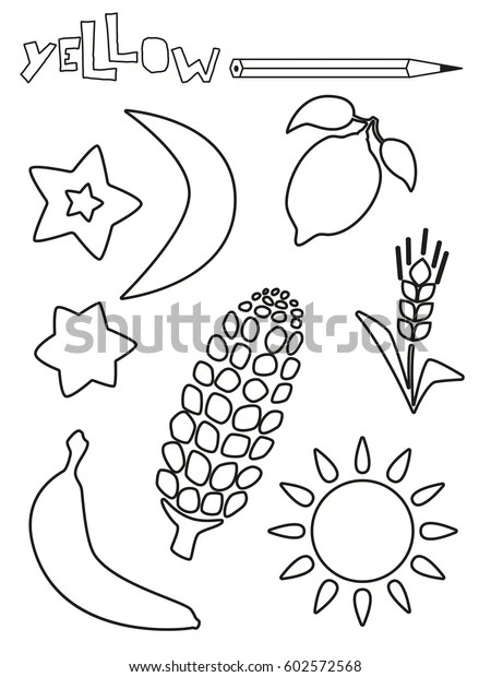 coloring page yellow things set single stock vector