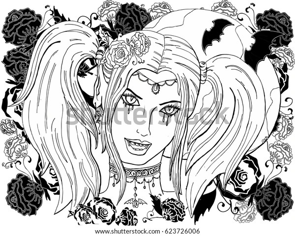 Coloring Pages Adults Beautiful Girl Vampire Stock Vector Royalty Free 623726006