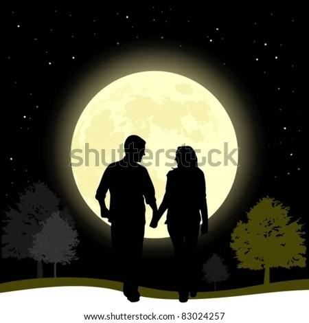 Download Couple Love Walking Full Moon Night Stock Vector (Royalty ...