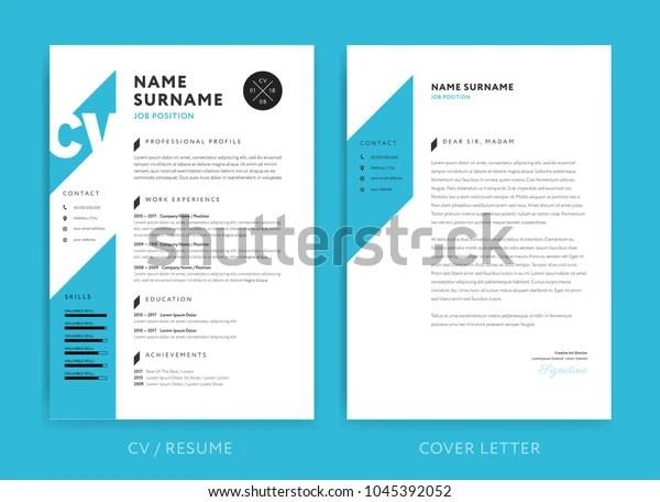 Creative Cv Resume Template Blue Background Stock Vector