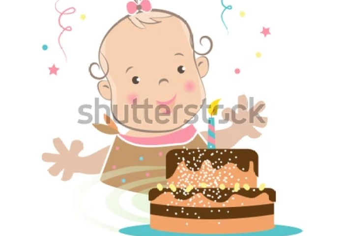 Cute Baby Girl First Birthday Cake Stock Vector Royalty Free