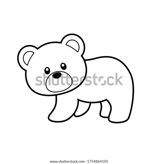 Cute Bear Coloring Page Vector Illustration Stock Vector Royalty Free 1754864105