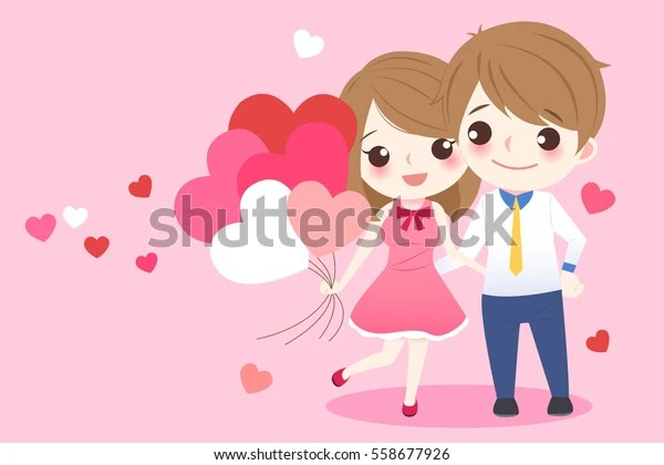 Download Cute Cartoon Couple Take Red Heart Stock Vector (Royalty ...