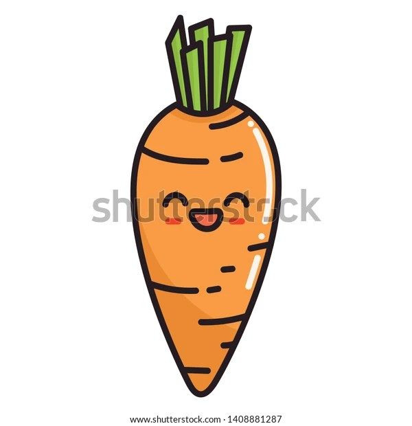 Vektor Stok Cute Cartoon Kawaii Food Carrot Vector Tanpa Royalti 1408881287