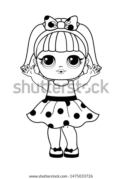 Cute Lol Doll Line Art Style Stock Vector Royalty Free 1475033726