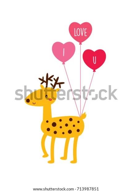 Download Cute Love Reindeer Vector Cute Deer Stock Vector (Royalty ...