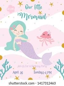 https www shutterstock com image vector cute mermaid theme birthday party invitation 1417312463