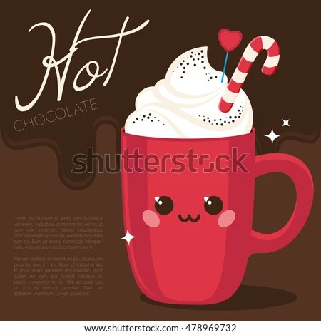 Cute Red Cup Hot Chocolate Coffee Stock Vector Royalty