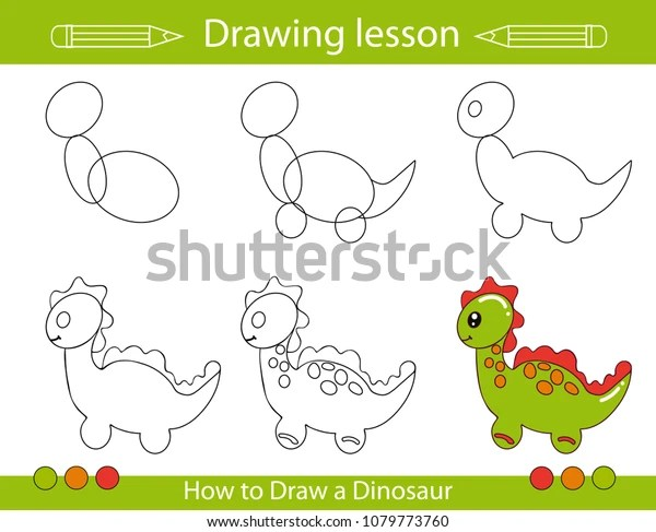 Drawing Lesson Children How Draw Cartoon Stock Vector Royalty Free 1079773760