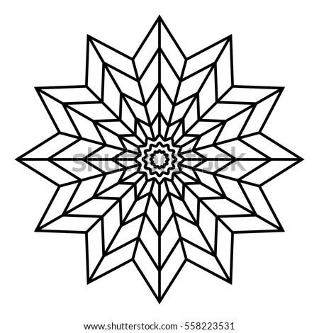 Easy Floral Black White Mandala Coloring Stock Vector
