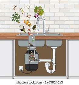 https www shutterstock com image vector food waste disposer installed under kitchen 1963814653