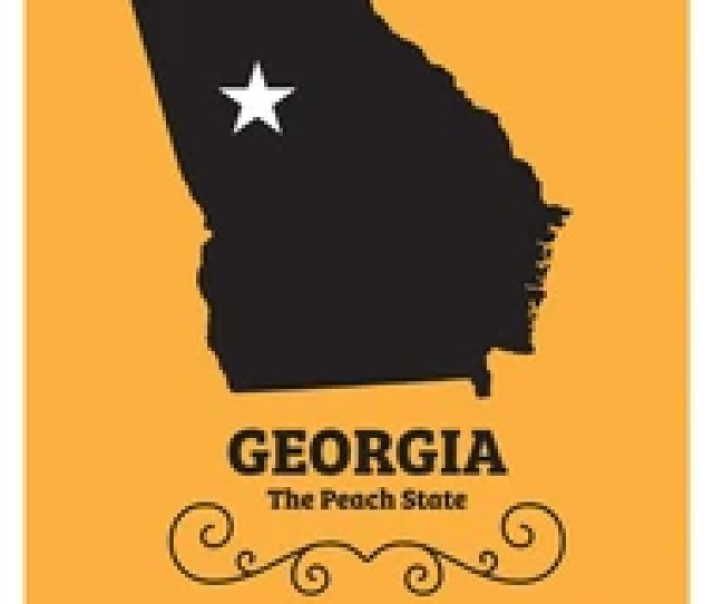 Georgia Us State Map With Nickname The Peach State Vector Eps 10