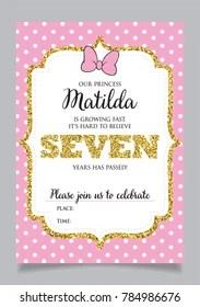 https www shutterstock com image vector girls seventh birthday invitation seven years 784986676