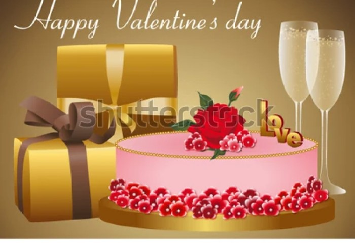 Gold Red Card Valentines Day Birthday Stock Vector Royalty Free