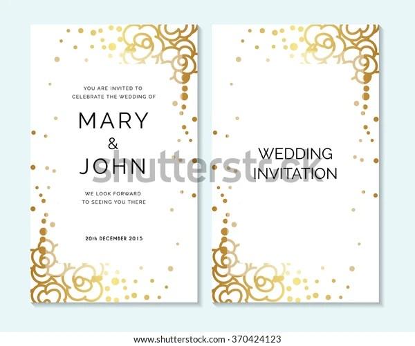 Gold Wedding Invitation Thank You Card Stock Vector Royalty