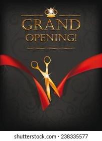 https www shutterstock com image vector grand opening card gold scissors on 238335577