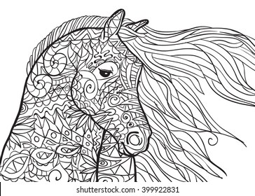 horse head coloring page # 6