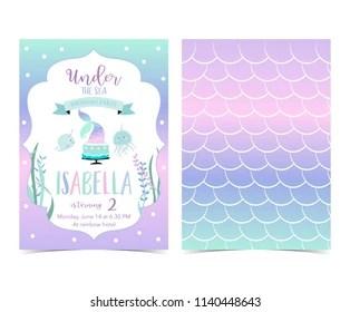 https www shutterstock com image vector hand drawn cute card mermaidcake narwhaljellyfish 1140448643