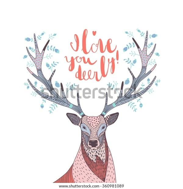 Download Hand Drawn Vector Illustration Deer Text Stock Vector ...