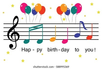 Music Notes Happy Birthday Images Stock Photos Vectors Shutterstock