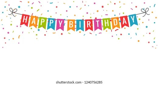 https www shutterstock com image vector happy birthday banner party flags confetti 1240756285