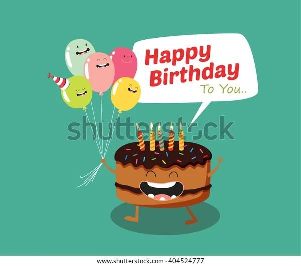 Happy Birthday Funny Cake Balloon Vector Stock Vector Royalty Free 404524777