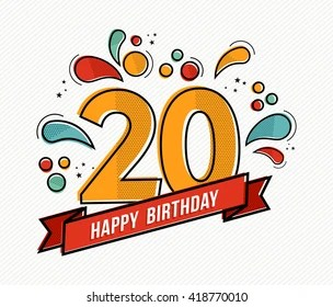 https www shutterstock com image vector happy birthday number 20 greeting card 418770010
