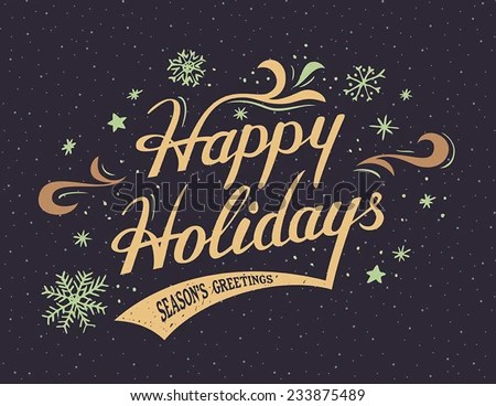 Happy Holidays Handlettering Vintage Greeting Card Stock