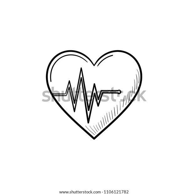 Heart Beat Rate Hand Drawn Outline Stock Vector Royalty Free
