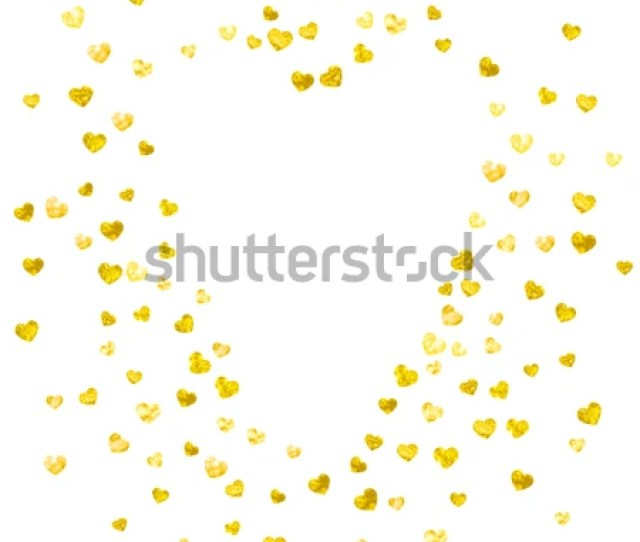 Heart Border For Valentines Day With Gold Glitter February Th Day Vector Confetti For