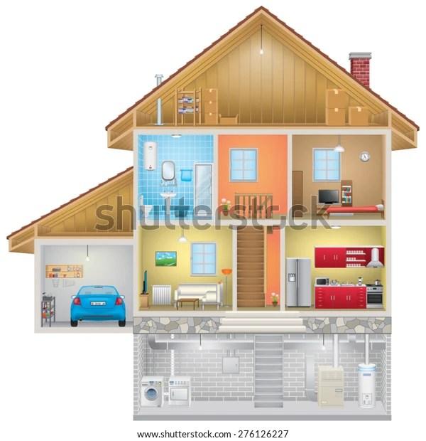 https www shutterstock com fr image vector house interior on white background 276126227