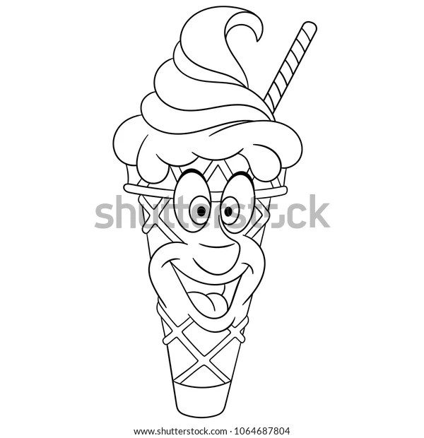 Ice Cream Cone Summer Coloring Page Stock Vector Royalty Free 1064687804