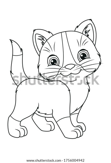 Image Cute Kitten Coloring Page Stock Vector Royalty Free 1756004942