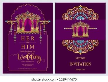 https www shutterstock com image vector indian wedding invitation card templates gold 1029444670