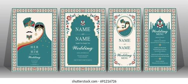 https www shutterstock com image vector indian wedding invitation card templates taj 691216726