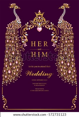 Indian Wedding Invitation Card Templates Gold Stock Vector Royalty Free 572731123 Shutterstock