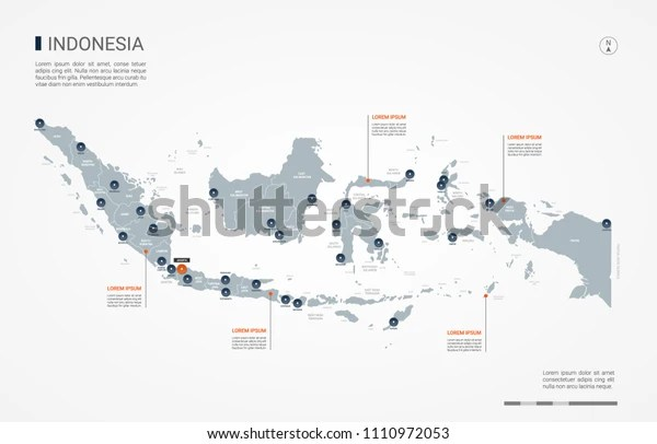 Indonesia Map Borders Cities Capital Jakarta Stock Vector Royalty Free 1110972053