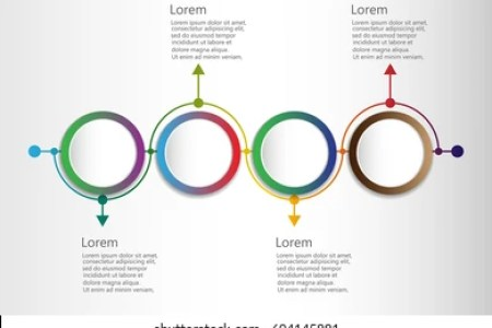 Infographic Design Template Timeline 4 Connected Stock Vector     Infographic design template with timeline and 4 connected circular  elements  monthly company s achievements concept