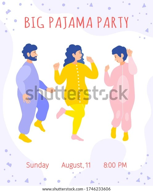 Invitation to a pajama party. Cute card with dancing fun friends, the inscription, time and date. Colorful template with women and man in pajamas. Vector illustration in flat style.