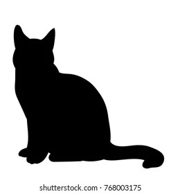 isolated black silhouette cat sitting