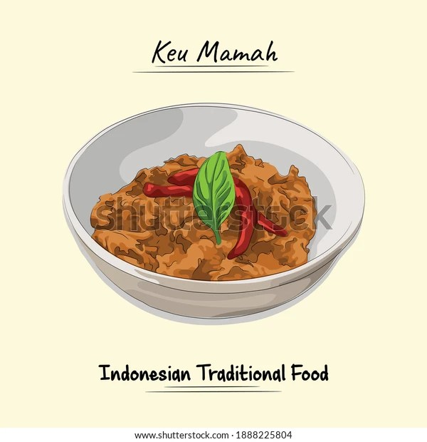 Keu Mamah Traditional Food Aceh Ingredients Stock Vector Royalty Free 1888225804