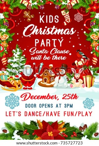 Kids Christmas Party Invitation Poster Template Stock