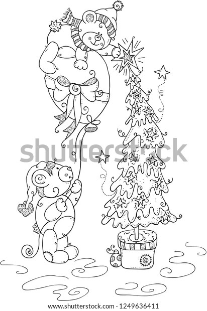 Kids Coloring Page Christmas Teddy Bears Stock Vector Royalty Free 1249636411