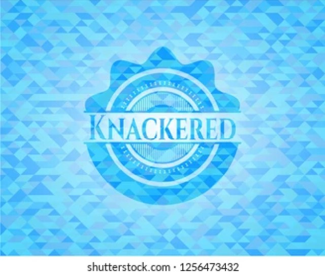 Knackered Light Blue Emblem With Mosaic Background