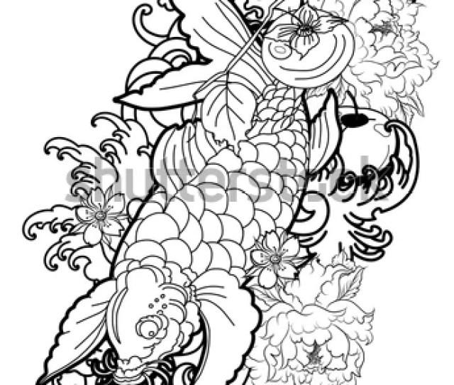 Koi Fish Tattoo Design Hand Drawn Koi Carp With Peony Flower Lotus Plum