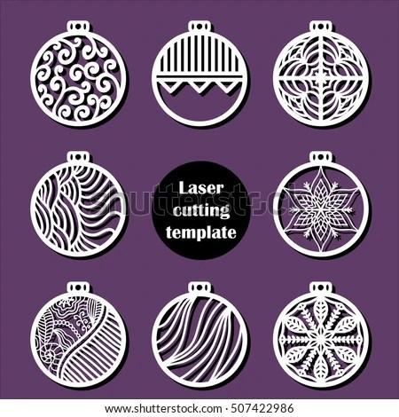 Laser Cut Christmas Decoration Vector Design Stock Vector