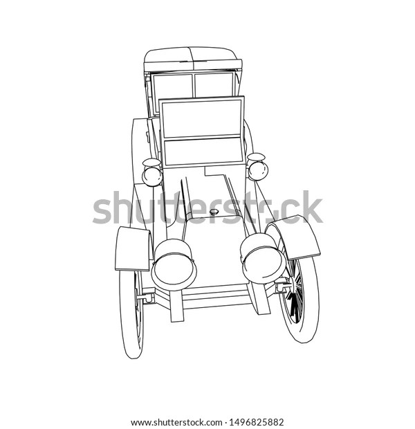 Line Art Classic Car Coloring Page Stock Vector Royalty Free 1496825882