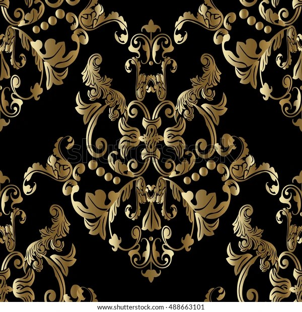 https www shutterstock com fr image vector luxury royal black baroque damask floral 488663101