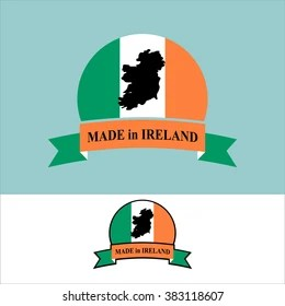 Made Ireland Logo Product Map Eire Stock Vector 383719495   Shutterstock Made in Ireland  logo for product  Map of Ireland and Ribbon with colors of